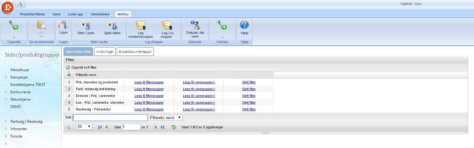 Filteradmin til Lynx nettbutikk.