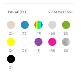 Vis farge som palett i menyfilter